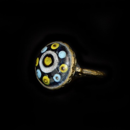 Antique Islamic Brass & Glass Ring