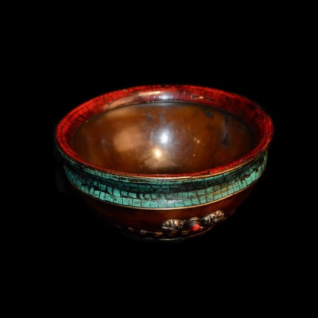 Turquoise coral offering bowl