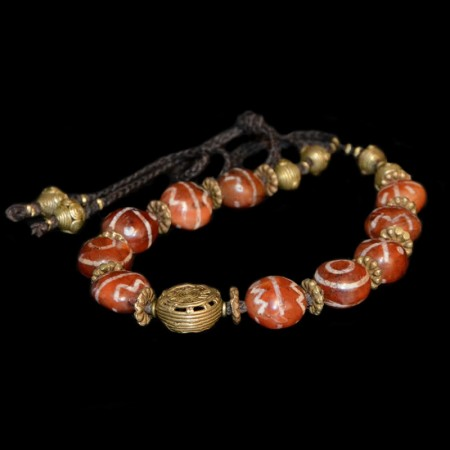 Old etched carnelian bead necklace