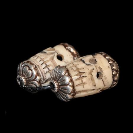 Skull bone silver beads