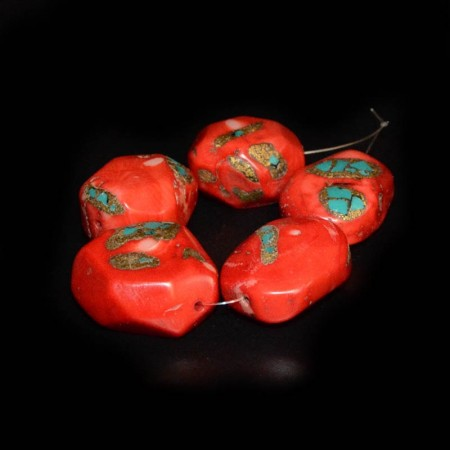 Five large red Coral with Turquoise Inlay