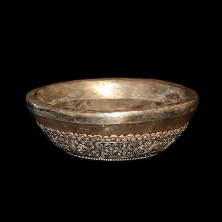Large rock crystal silver offering bowl