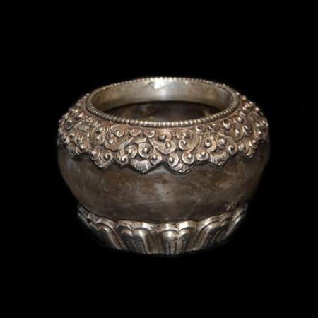 Rock crystal silver offering bowl