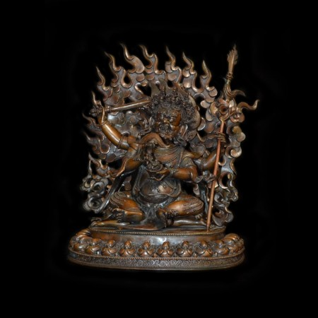 Large and heavy sitting Mahakala Statue