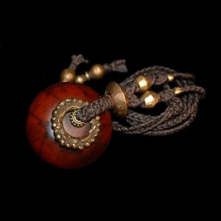 Vintage simulated amber bead talisman necklace