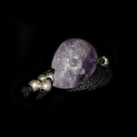 Amethyst Skull Amulet Silver Necklace