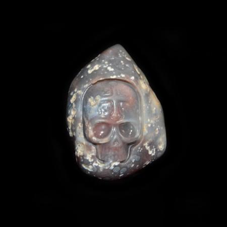 Eye Agate Skull Statue / Pebble