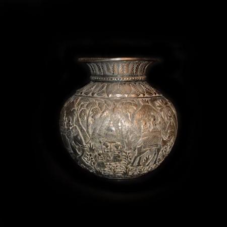 Antique Decorated Silver Pot India