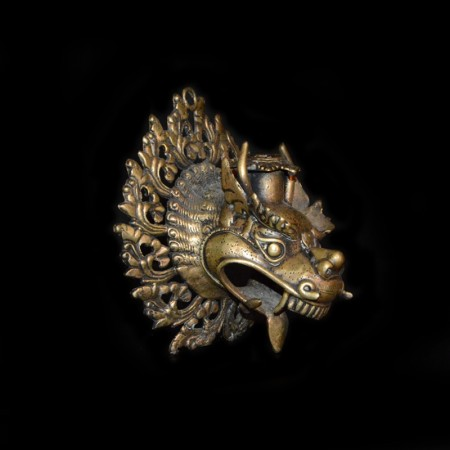 Foo Dog / Dragon Brass Wall Candle Holder