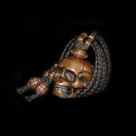 Heavy Bronze Silver Skull Necklace