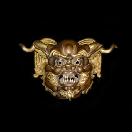 Vintage Tibetan Bronze Gold Demons Mask