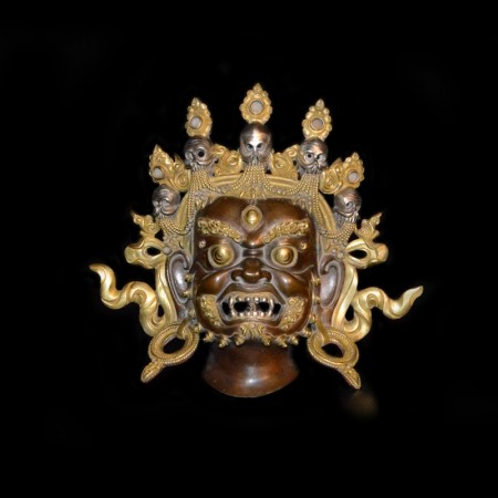 Mahakala Bronze Gold Silver Mask