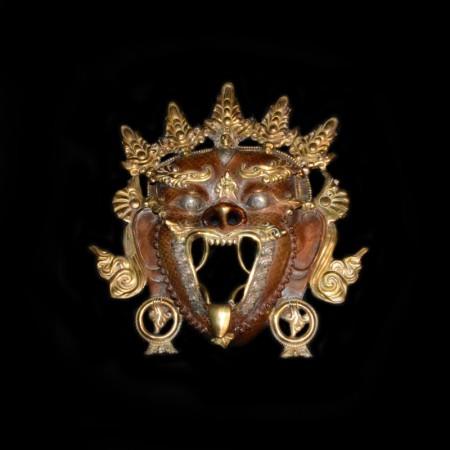 Vintage Bronze Gold Mahakala Mask