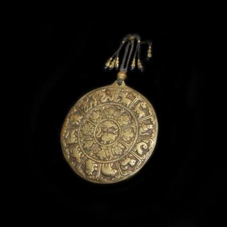 Antique Tibetan Astrology Brass Plaque