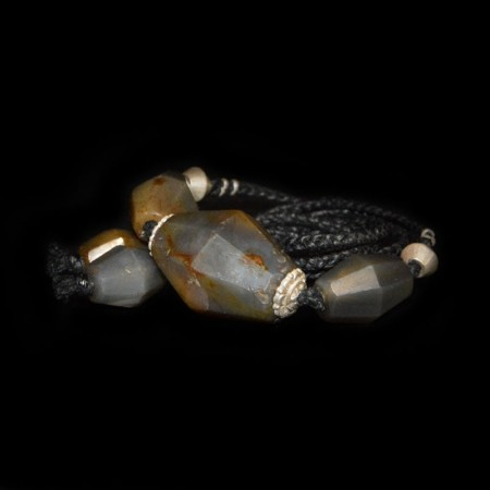 Antique grey facetted Idar Oberstein Agate Bead Necklace