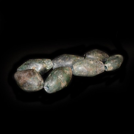 Strand of large ancient Serpentine beads