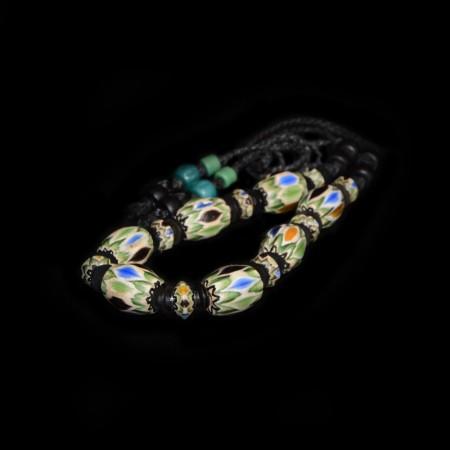 Antique Chevron Glass Bead Necklace
