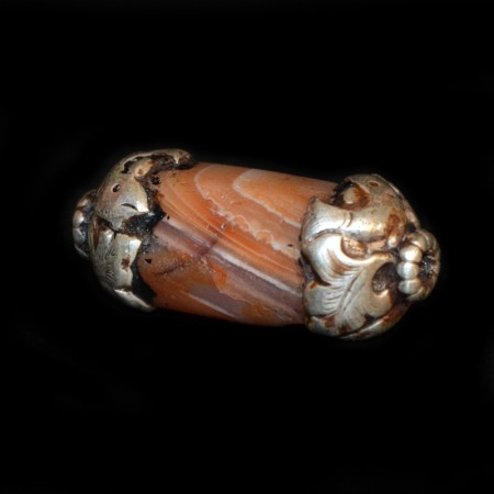 Ancient silver capped Carnelian bead