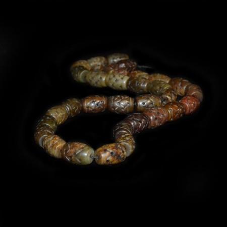 Antique carved Hetian Jadeite Beads