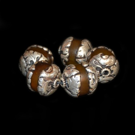 Large vintage silver-capped Resin Beads