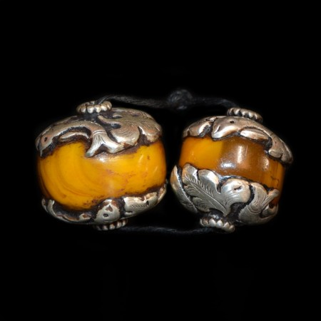 Pair of simulated Amber Silver Beads