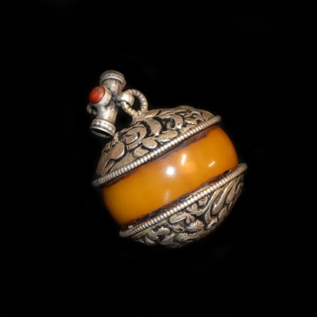 Large antique Bakelite Silver Pendant