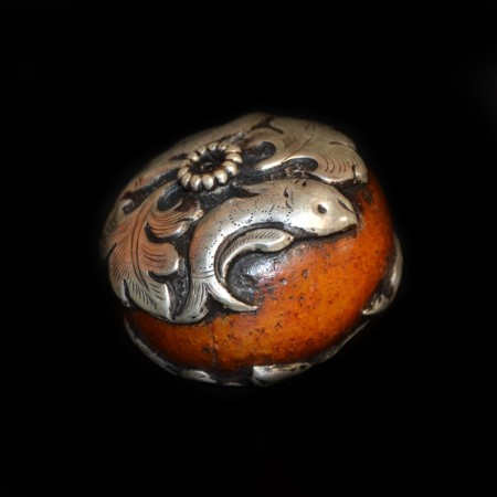 Huge antique simulated amber silver bead