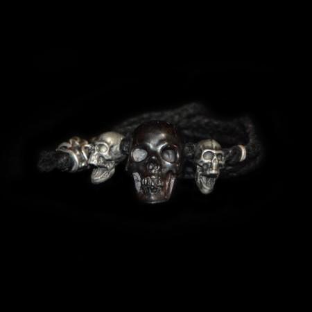 Hematite & Silver Skull Bead Necklace
