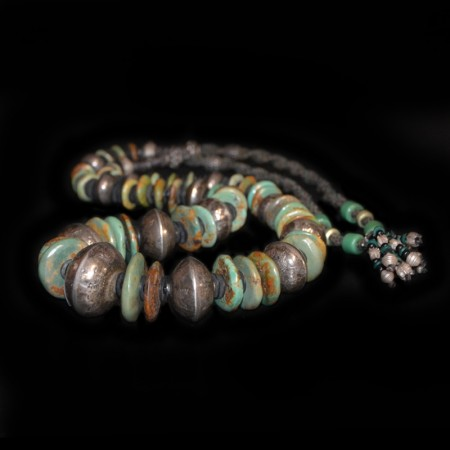 Antique Navajo Turquoise Silver Bead Necklace
