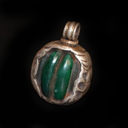 Vintage green Resin Silver Repoussee Pendant