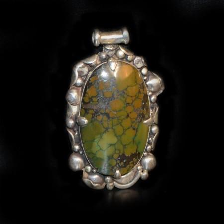 Large Turquoise Silver Amulet