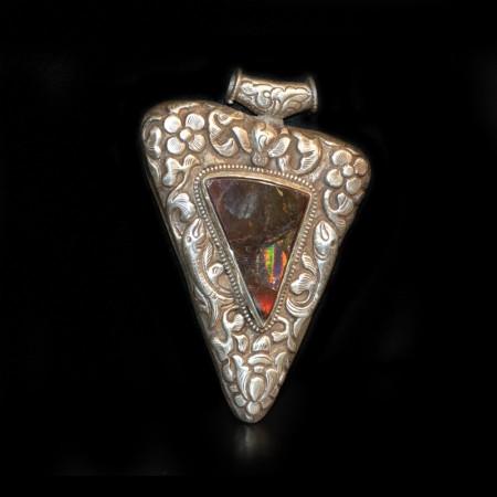 Huge tibetan Fire-Opal Silver Repoussee Pendant