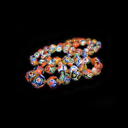 Antique Murano Moretti Millefiori Glass Bead Necklace