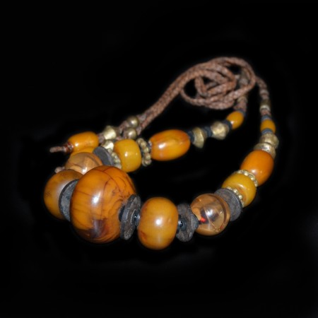 Simulated Amber Bead Necklace