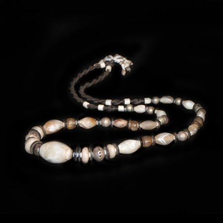 Ancient Quartz Bead Silver Necklace