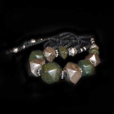 Ancient cornerless-cube Jasper with antique Silver Bead Necklace