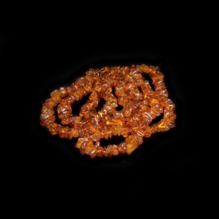 Long Amber Chip Bead Necklace