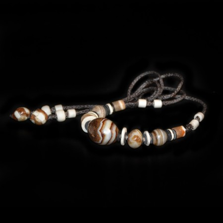Antique tibetan Agate Bead Choker Necklace