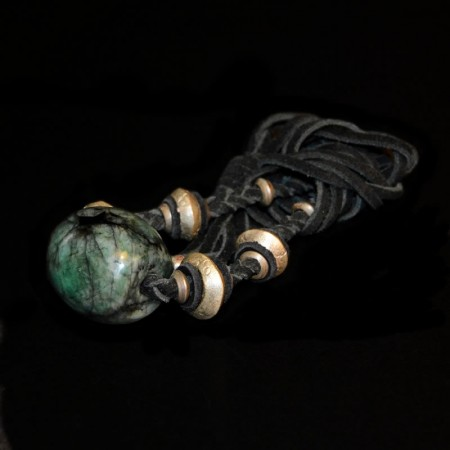 Emerald with silver beads and leather necklace
