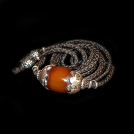 Antique silver-capped Simulated Amber Bead Choker