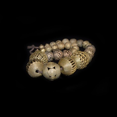 Strand with round Akan/Ashanti Brass Beads