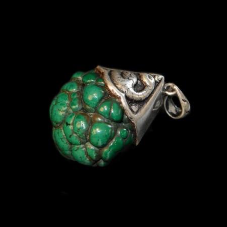 Malachite brain silver pendant
