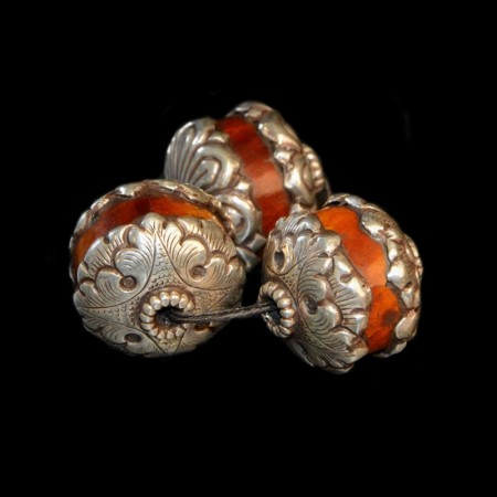Simulated amber silver beads