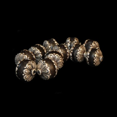 Antique glass silver beads