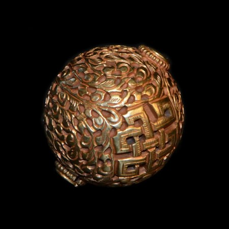 Huge guilded repoussee bead