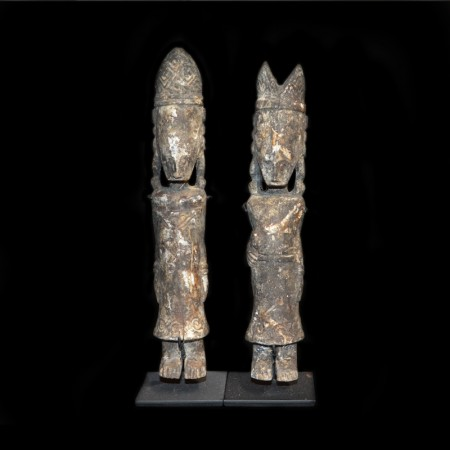 Pair of two Tribal Wood Statues from Timor