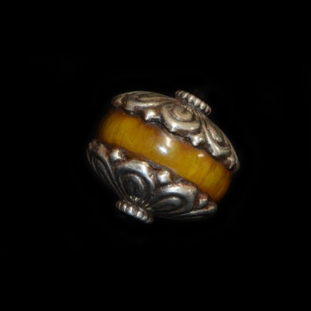 Rare silver capped simulated Amber Bead