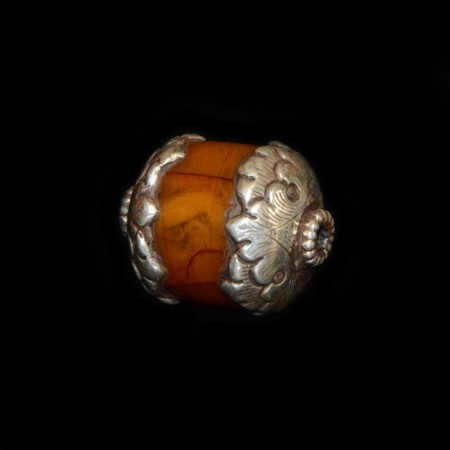 Antique silver-capped simulated Amber Bead