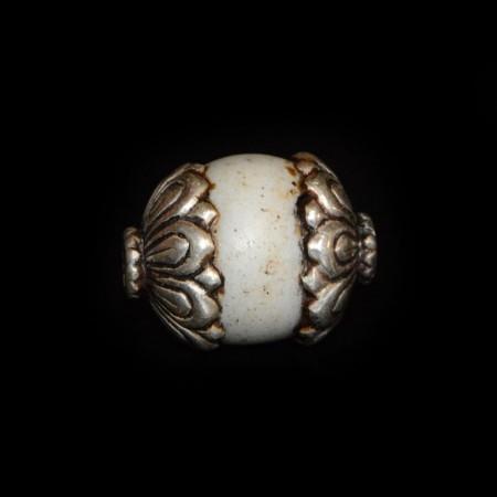 Antique European Glass Silver Bead