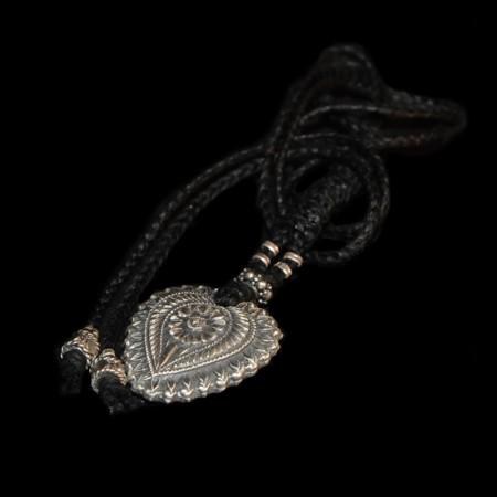 Flower heart silver amulet